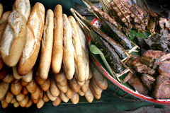 Lao Food and Market. People In Lao Market sell and buy Fruit, Vegetable, Meat from The Farm and Wild Animal royalty free stock image