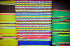 Lao handmade cotton and Silk scarf  near plateau Bolaven Royalty Free Stock Images