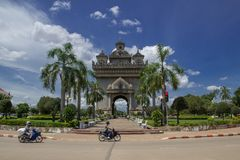 Lao landmark in sunshine day Royalty Free Stock Photography