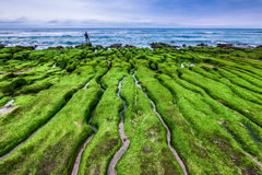 Lao Mei green rock troughs in New Taipei royalty free stock photography