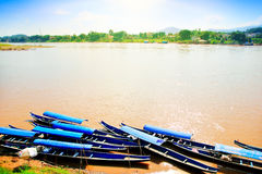 Lao motorboat. Mekong River between Thailand and Laos stock images