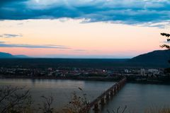 Lao Nippon Bridge in the morning. Champasak,Laos Royalty Free Stock Photography