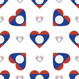 Lao People`s Democratic Republic flag patriotic. Lao People`s Democratic Republic flag patriotic seamless pattern. National flag in the shape of heart. Vector Stock Photography