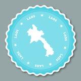 Lao People`s Democratic Republic sticker flat. Stock Photo