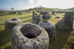 LAO PHONSAVAN PLAIN OF JARS. The plain of jars sit1 in the morning near the town of Phonsavan in the province Xieng Khuang in north Lao in southeastasia Royalty Free Stock Image