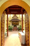 Lao style temple at that luang Royalty Free Stock Image