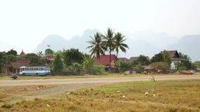 Lao village life around Vang Vieng,Laos stock footage