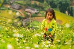 LAOCAI,越南, 9月15日:H ` mong 9月的少数族裔孩子 图库摄影