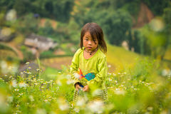 LAOCAI VIETNAM, SEPTEMBER 15: Barn H'mong för etnisk minoritet på Sept arkivbild