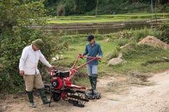 LAOCAI, VIETNAME, O 10 DE JUNHO: Fazendeiros não identificados que trabalham no arroz fi Imagem de Stock
