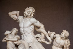 Laocoon and his sons. Roman statue of  Laocoon and his sons  in Vatican museums. Laocoon was a Trojan priest of Poseidon who warned against the Trojan Horse from Stock Image