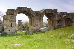 Laodicea废墟市在现代的罗马帝国,土耳其,棉花堡 免版税图库摄影