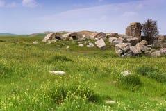 Laodicea废墟市在现代的罗马帝国,土耳其,棉花堡 免版税库存图片