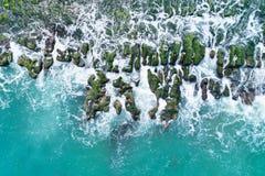 Laomei Green Reef Aerial View - Taiwan North Coast seasonal features, shot in Shimen District, New Taipei, Taiwan. stock photography