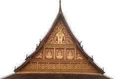 Laos art on roof church in Laos Temple . Royalty Free Stock Photos