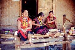 LAOS, BOLAVEN-12 FEBRUARI, 2014: Niet geïdentificeerde Alak-stamvrouwen in v Royalty-vrije Stock Foto's