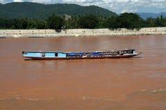 Laos cargo ship. In mekong river Royalty Free Stock Photography