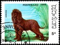 LAOS - CERCA DE 1986: o selo postal, impresso em Laos, mostra o irlandês W imagem de stock royalty free