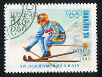 Slalom. LAOS - CIRCA 1983: stamp printed by Laos, shows slalom, circa 1983 Royalty Free Stock Images