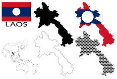Laos - Contour maps, National flag and Asia map vector Royalty Free Stock Images