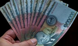 Laos currency. Fan of Laos Kip bank notes