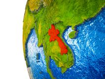 Laos on 3D Earth vector illustration