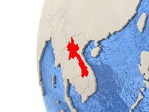 Laos on 3D globe. Map of Laos on globe with watery blue oceans and landmass with visible country borders. 3D illustration stock illustration