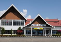 Laos: De luchthaventerminal van Pakse-Stad stock afbeelding