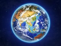 Laos on Earth from space stock illustration