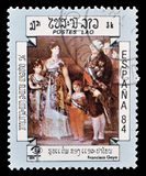 Laos em selos postais fotos de stock