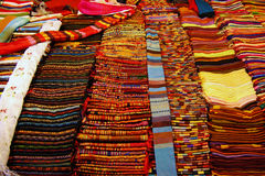 Laos fabric product. Colorful of Laos fabric product in night market, Laos stock photo