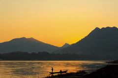 Laos fisherman at river  on sunset Stock Photos