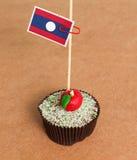 Laos flag on a apple cupcake Stock Image