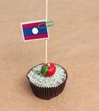 Laos Flag a on cupcake Stock Photography