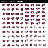 Laos flag, vector illustration. On a white background. Big set Royalty Free Stock Photo