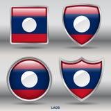 Laos flaga w 4 kształtach inkasowych z ścinek ścieżką Obrazy Royalty Free