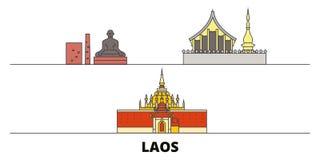 Laos flat landmarks vector illustration. Laos line city with famous travel sights, skyline, design. Laos flat landmarks vector illustration. Laos line city with royalty free illustration