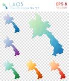Laos geometryczne poligonalne mapy, mozaika styl Zdjęcie Royalty Free