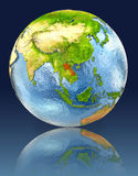 Laos on globe with reflection. Illustration with detailed planet surface. Elements of this image furnished by NASA Royalty Free Stock Photography