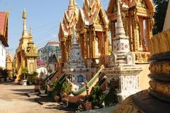 Laos: Graven bij de theravada-boeddhistisch-Universiteit in Champasak royalty-vrije stock foto
