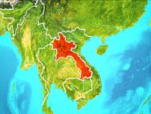 Map of Laos. Laos highlighted in red from Earth's orbit. 3D illustration. Elements of this image furnished by NASA Royalty Free Stock Photography