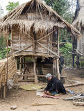 Laos Hill Tribe Man Weaving Baskets Stock Photos