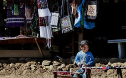 Laos hill tribe and needlework for sell to tourist Royalty Free Stock Images