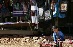 Laos hill tribe and needlework for sell to tourist Stock Photos