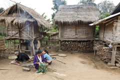 Laos Hill Tribe People Weaving Baskets Stock Image
