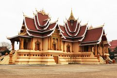 Laos: The holy stupa That Luang in Laos capital Vientiane. stock photo