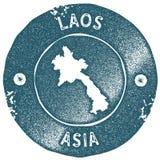 Laos-Kartenweinlesestempel Lizenzfreie Stockfotos