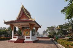 World Peace Bell in Laos. Laos is the only landlocked country in Southeast Asia and has been invaded many times in history.To beg for peace, the government built Royalty Free Stock Photo