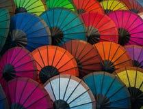 Laos, Luang Prabang Parasole robić papier różni kolory Obraz Royalty Free
