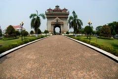 laos monument patuxay vientiane Fotografering för Bildbyråer